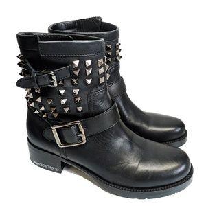 Valentino Rockstud Biker Black Moto Boots